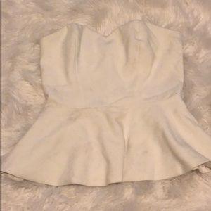 White strapless peplum top